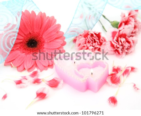 Pink flower and candles #101796271