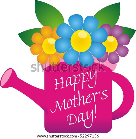pink flower bucket with a happy mother 39 s day note stock photo 52297156
