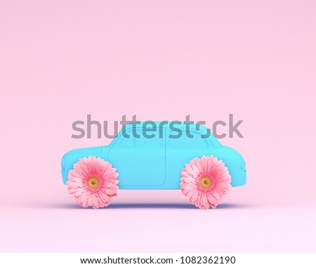 Pink flower layout wheel and car blue on pink pastel background. minimal idea creative concept. Idea creative to produce work within an advertising marketing communications. #1082362190