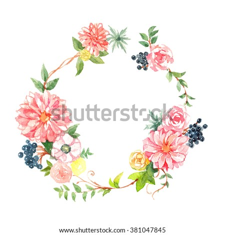 pink flower wreath watercolor illustration