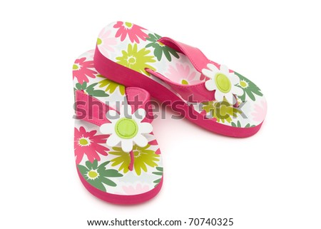 Pink flowered flip flops on a white background, Summer Clothes