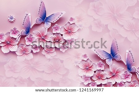 Pink flowers and butterfly on decorative background wallpaper