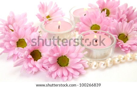 Pink flowers and pearls