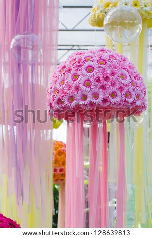 Pink flowers designed from jelly fish