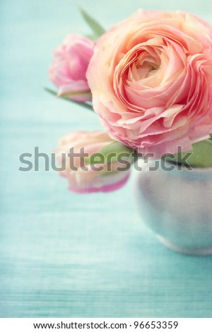 Pink flowers in a vase #96653359