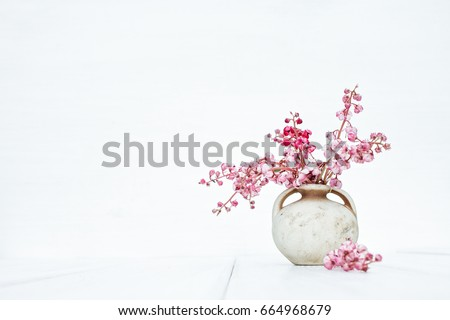 Pink flowers in vintage vase on a stylish white background. Beautiful fantasy romantic minimalist still life. Space for text #664968679