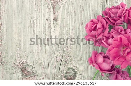 Pink flowers roses on rustic wooden background with copy space for pink flowers roses on rustic wooden background with copy space for greeting message mothers day m4hsunfo