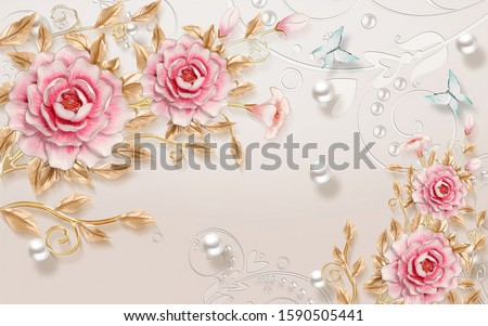 Pink Flowers With Branch Gold Beautiful And Ball Silver illustration 3rd