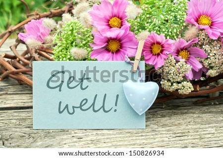 pink flowers with card get well/get well/flowers #150826934
