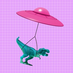 Pink flying saucer delivering toy dinosaur. Copy space for ad, text. Modern design. Conceptual, contemporary bright artcollage. Retro style, surrealism, fashionable.