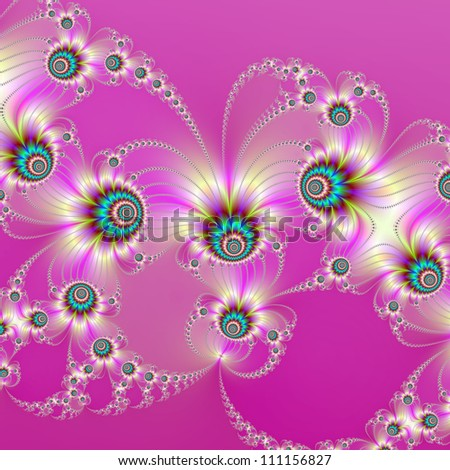 Pink Fractal Fireworks/Computer generated abstract image with a fractal firework design on a pink background.