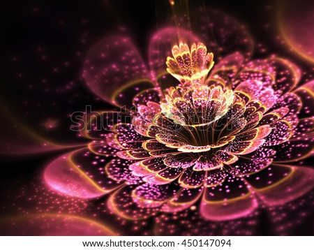 Pink fractal flower with golden glittering pollen, digital artwork for creative graphic design