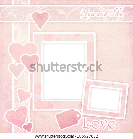 Pink frame with hearts - stock photo