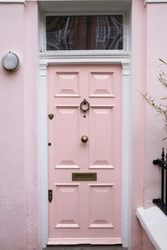 Pink front Door of a Beautiful Old English Town House
