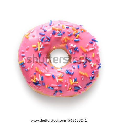 Pink frosted donut with colorful sprinkles isolated on white background. Include clipping path