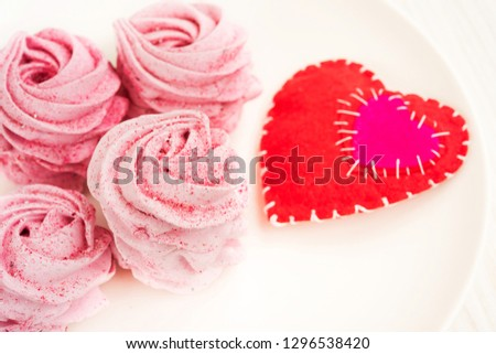 Pink fruit marshmallow for Valentine Day as background #1296538420