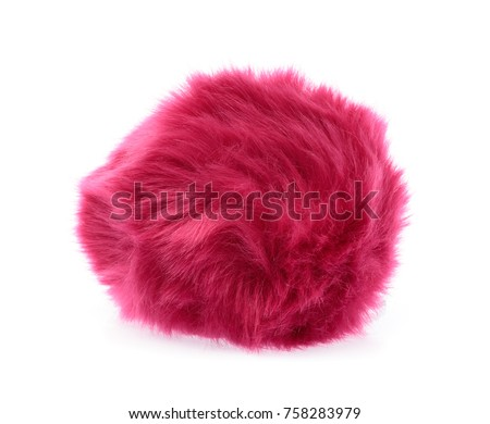 Pink Fur ball isolated on white background #758283979