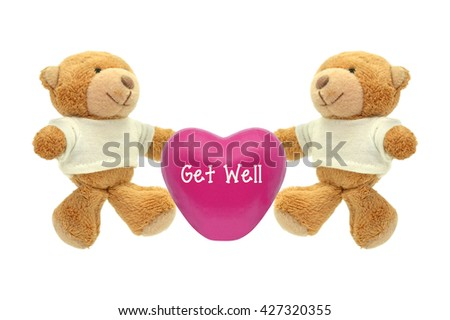 Pink Get Well Heart Two Teddy Bear Stuffed Animal toys isolated on white background #427320355