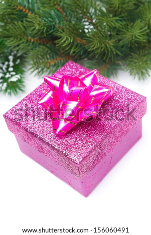 pink gift box and spruce branches, isolated on white