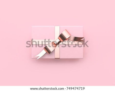 pink gift box christmas holiday new year concept metallic pink glossy reflection ribbon bow minimal pink background 3d rendering