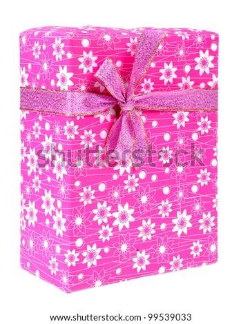 Pink gift box isolated on white background - stock photo