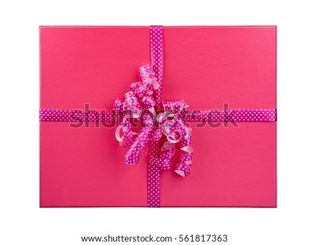 pink gift box isolated top view