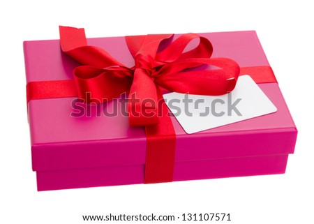 pink  gift box with blank greeting card isolated om white background