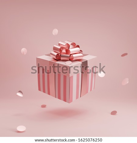 Pink gift box with golden ribbon bow levitating on pastel pink background. Flying stripped present with confetti abstract commercial for woman concept. Creative realistic minimal banner 3d render