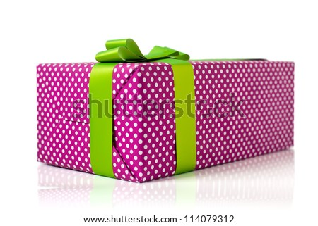 pink gift box with light green bow isolated on white background