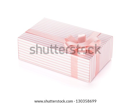 Pink gift box with ribbon and bow. Isolated on white background