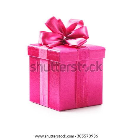 Pink gift box with ribbon bow. Holiday present. Object isolated on white background. Clipping path #305570936