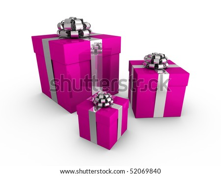 Pink gift boxes wrapped with shiny ribbon and bows
