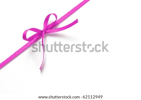 pink gift ribbon with bow isolated on white background