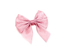 Pink glitter gift bow isolated on white