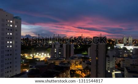 Pink gorgeous sunset in Uberlandia cityscape, Minas Gerais, Brazil