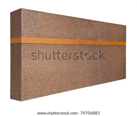 Pink granite signpost to office building complex, isolated with clipping path
