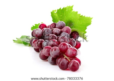 Pink grape cluster isolated on white