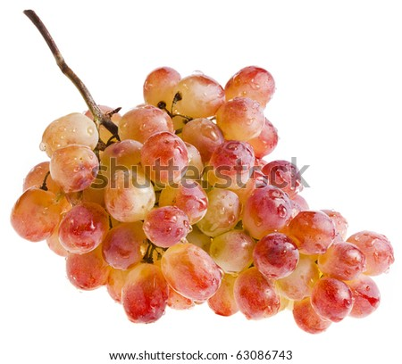 Pink grape cluster isolated on white background