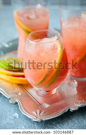 Pink grapefruit drinks  with crushed ice - stock photo