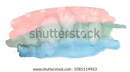 Pink, green and pastel blue painted in watercolor on clean white background