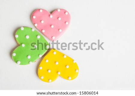Pink, Green and Yellow polka dot heart shaped cookies
