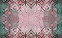 Pink green old aged worn cement concrete stone tile wall wallpaper texture, with rhombus rue diamond square print, shabby vintage retro background