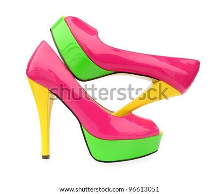 Pink green yellow high heels open toe pump shoes
