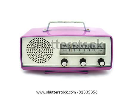 Pink grungy retro radio on  isolated white background