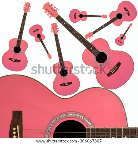 Pink Guitars on white background