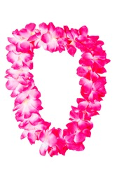 pink hawaiian lei beads with vibrant colors isolated on a white background