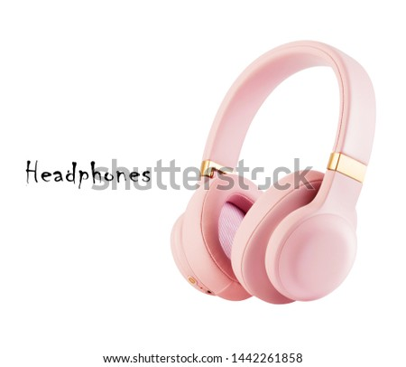 Pink Headphones Isolated on White Background. Side View Dusty Rose Combined Bluetooth Wireless and Wired Over-the-Ear Headset With Noise Cancelling and Integrated Microphone. Acoustic Stereo Sound