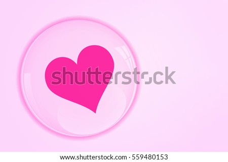 Pink heart in glossy bubble.Glossy glass ball. Valentine day. #559480153