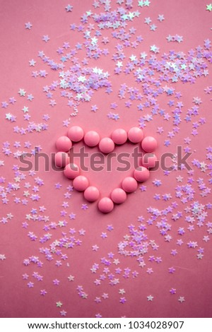 Pink heart in pink background #1034028907