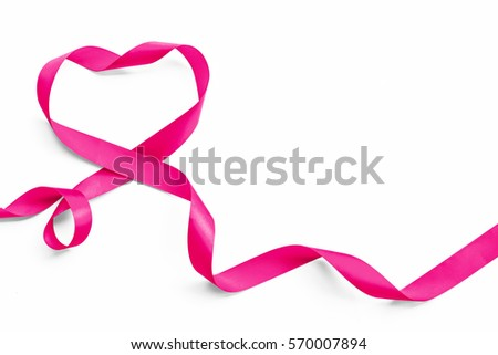 Pink heart ribbon isolated on white background (clipping path), symbolic bow color for National breast cancer awareness month campaign #570007894